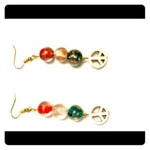 Patriotic Red White Blue Czech bead earrings